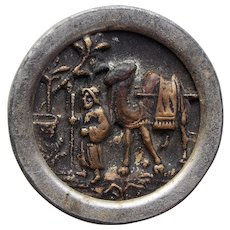 Antique DESERT SCENE Picture Story Button - Man and Camel