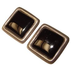 Fabulous MEXICAN STERLING Black Glass Large Vintage Clip Earrings