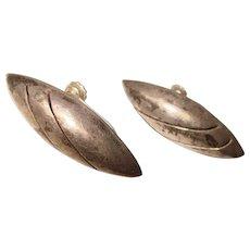 Fabulous MEXICAN STERLING Elongated Shape Vintage Earrings