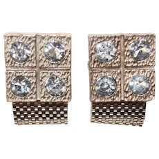 Awesome BLUE RHINESTONE Vintage Wrap Cufflinks