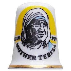 Vintage MOTHER TERESA Porcelain Thimble - Signed Birchcroft