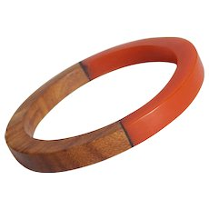 Laminated EARLY PLASTIC & WOOD Half and Half Vintage Bangle Bracelet