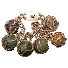 Fabulous Hallmarked 800 Silver Caged GLASS MARBLE Dangles Vintage Bracelet