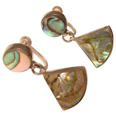 Fabulous MEXICAN STERLING & Abalone Signed Vintage Earrings
