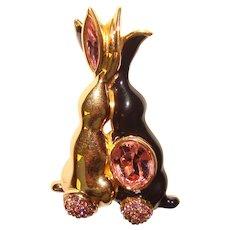 Fabulous SWAROVSKI Signed Bunnies in Love Rhinestone Brooch - Swan Logo Mark