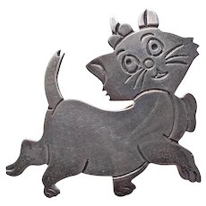 Awesome MEXICAN STERLING Cat Vintage Brooch