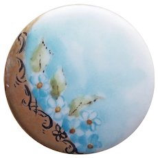 Antique Porcelain Hand Painted Button