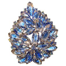 Fabulous BLUE GIVRE GLASS Vintage Rhinestone Brooch