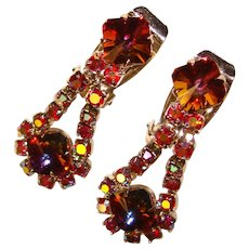 Fabulous RIVOLI RHINESTONE Red Aurora Dangle Vintage Clip Earrings