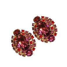 Fabulous Large PURPLE & RED Rhinestone Vintage Clip Earrings