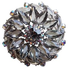 Fabulous SMOKE & SMOKE AURORA Rhinestone Vintage Brooch - Open Backed