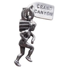 Sterling NATIVE AMERICAN INDIAN Vintage Charm - Souvenir of Grand Canyon Arizona
