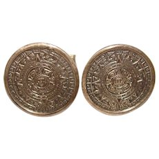 Awesome MEXICAN STERLING Vintage Cufflinks - Aztec Calendar