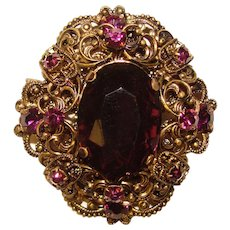 Fabulous CZECH Purple Stones Filigree Vintage Pendant Brooch