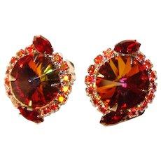 Fabulous RIVOLI RHINESTONE Red Aurora Vintage Clip Earrings
