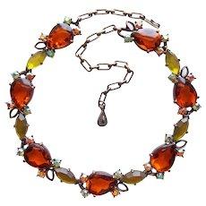 Fabulous SELINI Signed Vintage Plastic & Rhinestone Necklace
