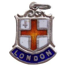 Vintage LONDON Sterling & Enamel Estate Charm - Souvenir of England Great Britain
