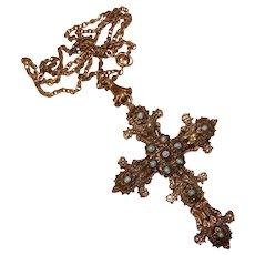 Fabulous Large Vintage ORNATE CROSS Double Side Stones Pendant Necklace