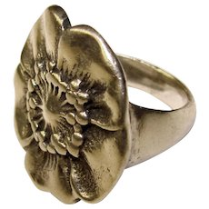 Fabulous STERLING Vintage Poppy Design Ring