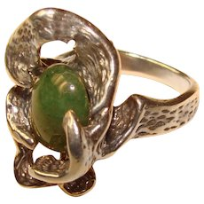 Fabulous STERLING Modernist Design Vintage Green Stone Ring