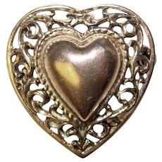 Gorgeous DANECRAFT STERLING Signed Vintage Heart Design Brooch