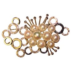Fabulous Sterling & Akoya Cultured Pearl Vintage Bubble Design Brooch