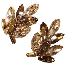 Fabulous NAVETTE RHINESTONE Vintage Clip Earrings