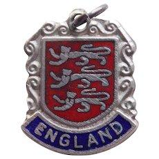 Sterling & Enamel ENGLAND Vintage Estate Charm - Travel Souvenir of Great Britain United Kingdom