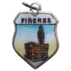 800 Silver & Enamel FLORENCE Firenze Vintage Estate Charm - Travel Souvenir of Italy