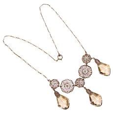 Fabulous ART DECO Filigree & Clear Glass Drops Necklace