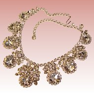 Fabulous D&E JULIANA Large Clear Rhinestone Vintage Necklace