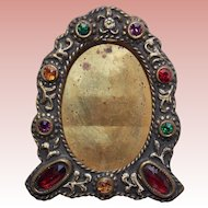 Gorgeous Czech Deco Jeweled Small Picture Frame- Miniature