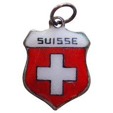 800 Silver & Enamel SUISSE Vintage Estate Charm - Souvenir of Switzerland