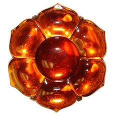 Fabulous ART DECO Amber Glass Dress Clip Brooch