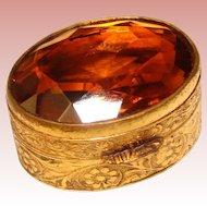 Fabulous ITALY Vintage Amber Glass Top Trinket Box