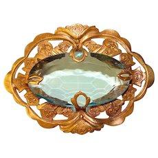 Fabulous Antique AQUA Glass Sash Pin Brooch