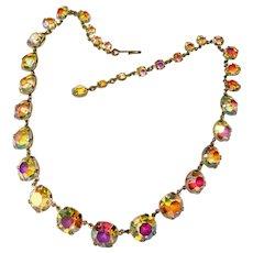 Fabulous AURORA Open Back Stones Vintage Necklace
