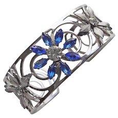 Gorgeous Blue Rhinestone Vintage Cuff Bracelet