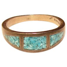 Awesome STERLING Turquoise Color Inlay Vintage Ring