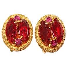 Beautiful RED & Vibrant Pink Vintage Rhinestone Clip Earrings