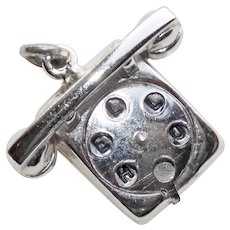 Sterling ROTARY PHONE Mechanical Vintage Estate Charm - Hello - I Love U - Movable