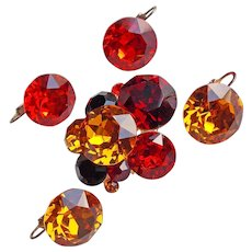 Fabulous VOGUE JLRY Signed Amber Red & Orange Rhinestone Vintage Brooch Set - with 2 Pairs Matching Earrings - Autumn Fall Colors