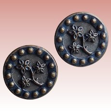 Antique Pair of Flower Buttons - 9/16""