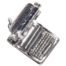 Sterling TYPEWRITER Vintage Estate Charm - Mechanical Movable
