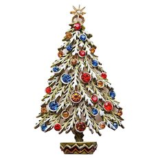Gorgeous ART Signed Enamel & Rhinestone Vintage Christmas Tree Brooch