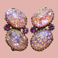 Fabulous FOIL GLASS Dragons Breath & Rhinestone Vintage Earrings