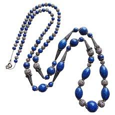 Fabulous ART DECO Czech Glass Necklace - Lapis Blue Color Glass & Filigree Beads