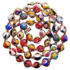 Gorgeous MILLEFIORI GLASS Italian Beads Vintage Necklace