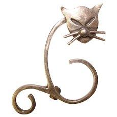 Awesome STERLING Modernist Cat Design Vintage Brooch