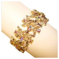 Fabulous CORO Signed Vintage Aurora Rhinestone Bracelet